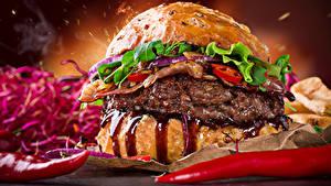 Bilder Fast food Burger Gemüse Lebensmittel