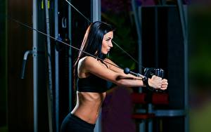 Hintergrundbilder Fitness Brünette Trainieren Mädchens