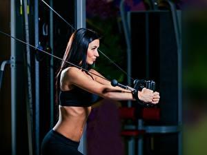 Hintergrundbilder Fitness Brünette Körperliche Aktivität Sport Mädchens