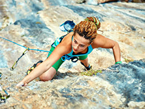 Pictures Mountaineering Rock Hands Climber Girls Sport