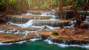 Bilder Thailand Park Wasserfall Tropen Huay Mae Khamin Waterfall