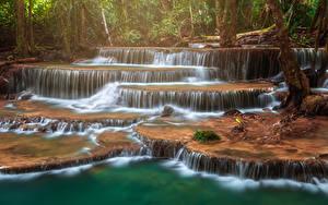 Image Thailand Parks Waterfalls Tropics Huay Mae Khamin Waterfall Nature