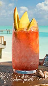 Fotos Cocktail Küste Trinkglas Eis Tisch Strand Lebensmittel