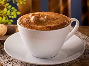 Bilder Kaffee Cappuccino Großansicht Tasse Schaum Untertasse