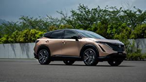 Hintergrundbilder Nissan Softroader Metallisch Seitlich Ariya e-4orce JP-spec, 2020 auto