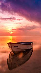 Hintergrundbilder Landschaftsfotografie Flusse Morgendämmerung und Sonnenuntergang Boot Himmel Horizont