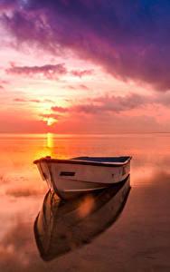 Hintergrundbilder Landschaftsfotografie Flusse Morgendämmerung und Sonnenuntergang Boot Himmel Horizont Natur