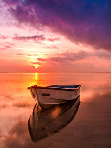 Hintergrundbilder Landschaftsfotografie Flusse Sonnenaufgänge und Sonnenuntergänge Boot Himmel Horizont