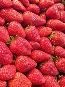 Fotos Erdbeeren Viel Hautnah Textur Lebensmittel