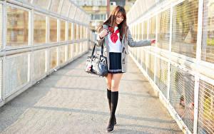 Bilder Handtasche Asiatisches Bein Rock Bluse Mantel Braune Haare Süß Schülerin