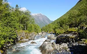Fotos Flusse Steine Gebirge Wälder Norwegen Trollstigen, Westland Natur