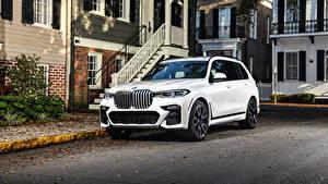 Wallpaper BMW White CUV 2020 X7 xDrive50i M Sport auto