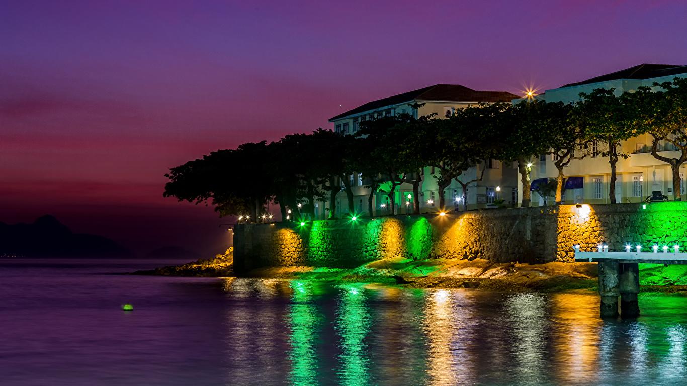 Pictures Rio De Janeiro Brazil Copacabana Fort Coast Night 1366x768