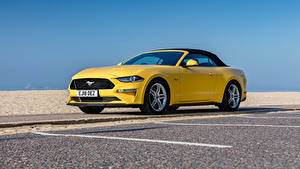 Wallpapers Ford Cabriolet Yellow Metallic Mustang GT Convertible, UK-spec, 2018-- auto