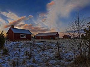 Fotos Schweden Haus Winter Abend Himmel Schnee