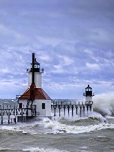 Hintergrundbilder Vereinigte Staaten Leuchtturm Wasserwelle Meer Himmel Florida Saint Joe Lighthouse Natur