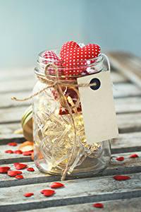 Papéis de parede Dia dos Namorados Frasco de vidrio Coração