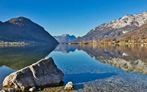 Bilder Österreich Gebirge See Wälder Steine Landschaftsfotografie Alpen Spiegelung Spiegelbild Styria, Grundlsee, Salzkammergut