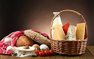 Fotos Brot Käse Milch Tomate Schalenobst Weidenkorb