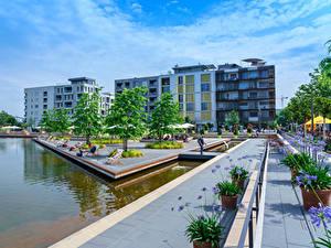 Pictures Germany Building Pond Parks Heilbronn
