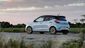 Hintergrundbilder Hyundai Weiß Metallisch Seitlich i10 N Line UK-spec, 2020 auto