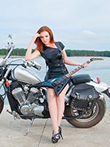 Bilder Rotschopf Kleid Bein Gitarre Motorrad