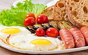 Wallpapers Vienna sausage Tomatoes Vegetables Bread Eggplant Fried egg