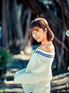 Fotos Asiaten Unscharfer Hintergrund Lächeln Braune Haare Starren Sweatshirt junge frau