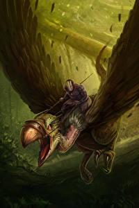 Hintergrundbilder Magische Tiere Krieger Flug Flügel Fantasy