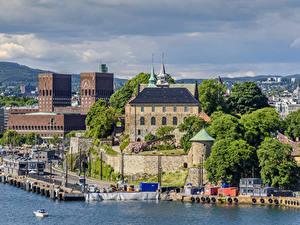 Bilder Norwegen Oslo Haus Schiffsanleger Bucht Städte