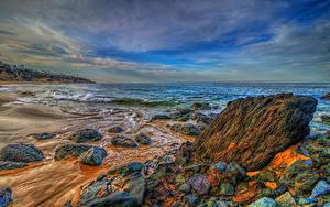 Hintergrundbilder Vereinigte Staaten Meer Küste Steine Landschaftsfotografie Wasserwelle Kalifornien HDR Laguna Beach