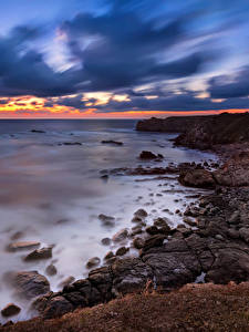 Bilder Bulgarien Küste Morgendämmerung und Sonnenuntergang Steine Himmel Natur