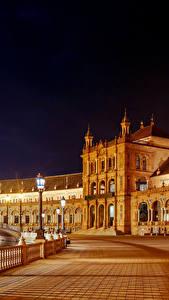 Fotos Spanien Gebäude Platz Nacht Straßenlaterne Zaun Seville Spanish Square Maria Luisa Park