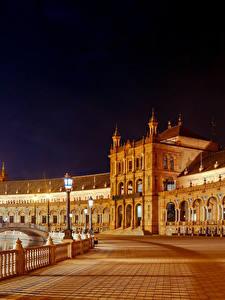 Fotos Spanien Gebäude Platz Nacht Straßenlaterne Zaun Seville Spanish Square Maria Luisa Park Städte