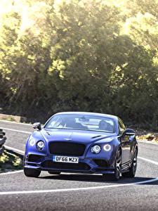 Desktop hintergrundbilder Bentley Straße Bewegung Blau Vorne continental gt supersport 2018 auto