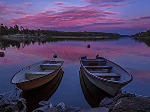 Fotos Schweden Flusse Abend Bootssteg Boot Himmel 2 Natur