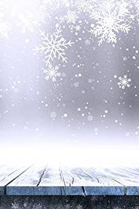 Fotos Neujahr Schneeflocken Bretter Vorlage Grußkarte