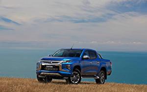 Bilder Mitsubishi Blau Pick-up 2018 Triton Double Cab