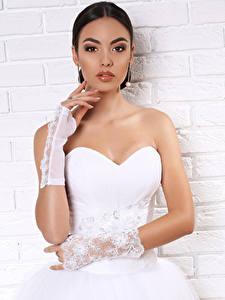 Bilder Brünette Hand Handschuh Brautpaar Kleid