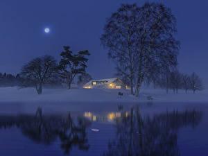 Fotos Schweden Winter Flusse Gebäude Schnee Nacht Mond Bäume Natur