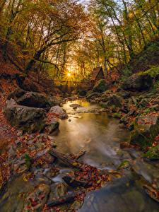 Fotos Russland Krim Herbst Steine Bäume Blattwerk Lichtstrahl Bach