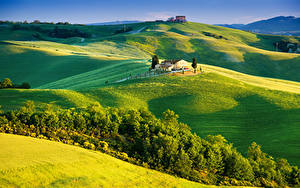 Bilder Italien Toskana Landschaftsfotografie Felder Gebäude Hügel