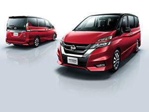 Hintergrundbilder Nissan Grauer Hintergrund Zwei Rot 2016 Serena Highway Star Autos
