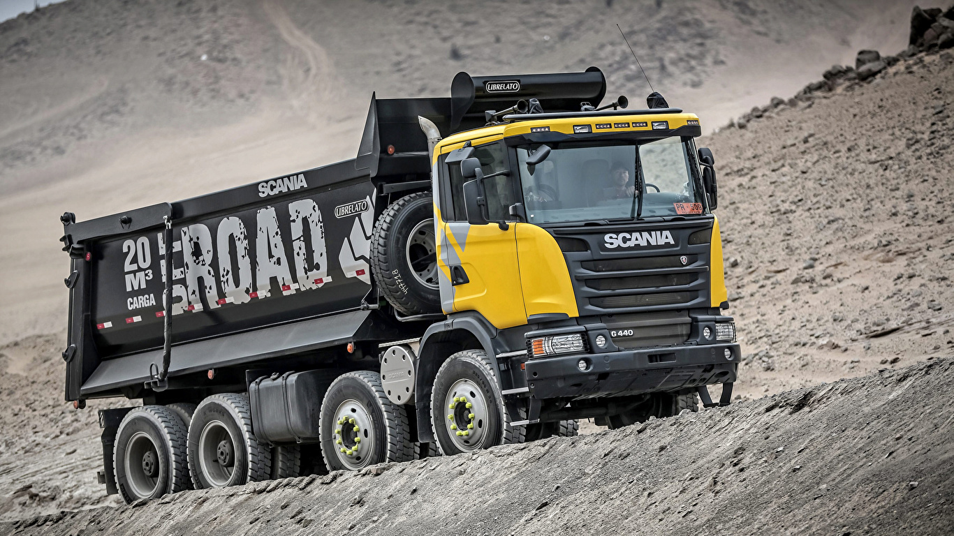 Photo lorry Scania 8x4, G440, 2013 Cars 1366x768 Trucks auto automobile