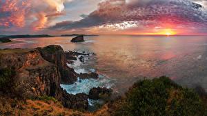 Fotos Australien Landschaftsfotografie Morgendämmerung und Sonnenuntergang Meer Küste Himmel Felsen Wolke Kiama Natur