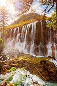 Sfondi desktop Valle del Jiuzhaigou Cina Parco Cascate Autunno Natura