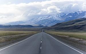 Fotos Russland Wege Gebirge Landschaftsfotografie Asphalt Wolke mountain Altai Natur