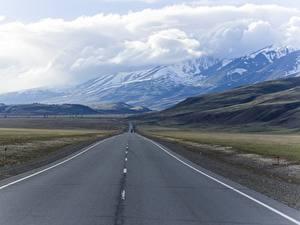 Fotos Russland Wege Gebirge Landschaftsfotografie Asphalt Wolke mountain Altai