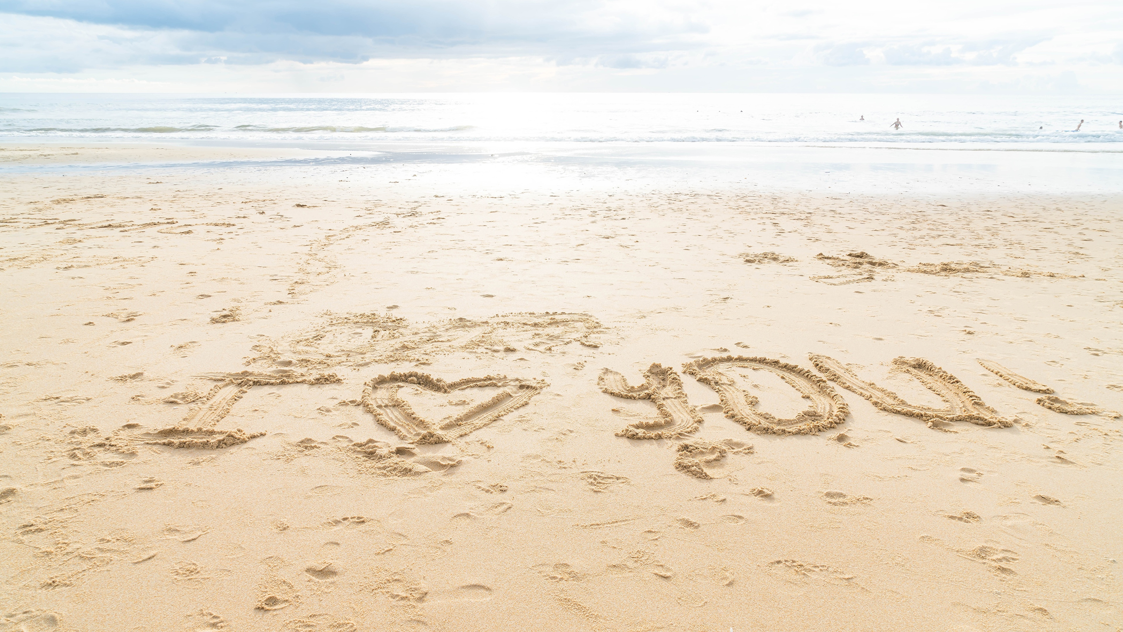 壁紙 3840x2160 海 I Love You 砂 ビーチ 英語 単語 自然
