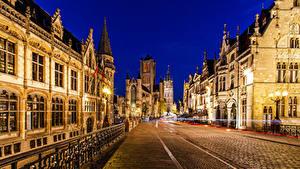 Bilder Belgien Gent Gebäude Nacht Straßenlaterne Straße Zaun